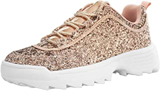 LUCKY STEP Women Glitter Sparkly Bling Chunky Dad Tennis Casual Sneakers