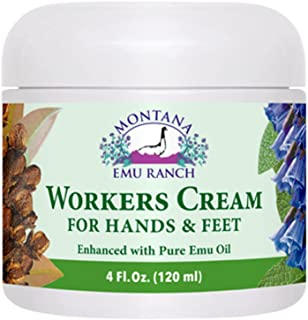 Montana Emu Ranch - Workers Cream for Hands and Feet - 4 Ounce Jar - Enhanced with Pure Emu Oil