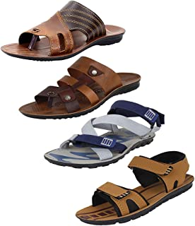 Super Men's Multicolor Combo Pack of 4 and Casual Wear Canvas Sandals & Floaters