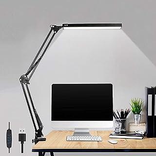 LED Desk Lamp, Metal Swing Arm Lamp, Adjustable Reading Light Eye-Care Table Light, 3 Color Modes 10 Brightness Dimming Le...