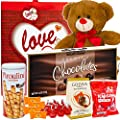 Valentines Day Gift Basket Set | 12 Inch Teddy Bear Plush(COLOR VARYS), Hershey Kisses, Pirouline Wafers, Elmer Sampler Chocolate, Godiva Caramel Milk Candies, V-Day Gift Bag For Her Wife Girlfriend