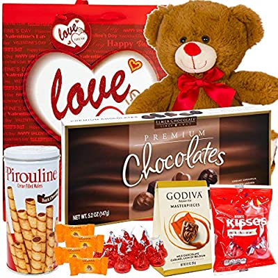 Valentines Day Gift Basket Set | 12 Inch Teddy Bear Plush(COLOR VARYS), Hershey Kisses, Pirouline Wafers, Elmer Sampler Chocolate, Godiva Caramel Milk Candies, V-Day Gift Bag For Her Wife Girlfriend