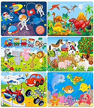 Puzzles for Kids Ages 4-8 Year Old 60 Piece Colorful Wooden Puzzles for Toddler Children Learning Educational Puzzles Toys for Boys and Girls  6 Puzzles