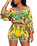 Two Piece Sets for Women Short - African Print Shorts Set Sexy Beach Outfits Bright Yellow L