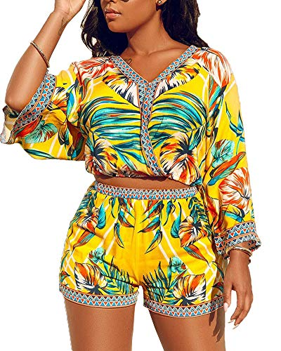 Two Piece Sets for Women Plus - Summer Beach Outfits Bohemian 2 Pieces Shorts Set Bright Yellow 2XL
