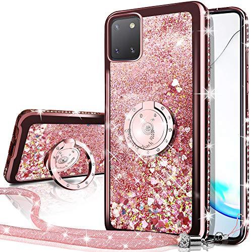 Miss Arts Cover Galaxy Note 10 Lite/A81,[Silverback] Custodia Glitter di in TPU con Supporto, Pendenza Colore Diamond Liquido Cover Case per Samsung Galaxy Note 10 Lite/A81 -Oro Rosa