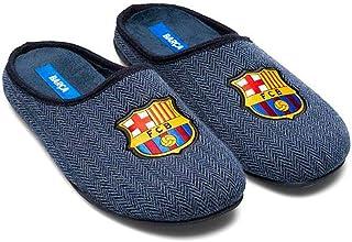Zapatillas FC Barcelona Azul Espiga Zapatillas de Estar por casa Hombre Invierno Otoño