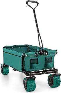 comprar comparacion Waldbeck The Green Carro Transporte Plegable jardín (Carga máxima 70kg, 90L Volumen, Bolsillos Laterales, Ruedas Anchas, S...