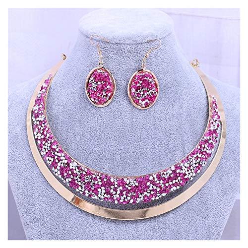 ZCPCS Sección de explosión Moda con Diamante metálico Diamante Completo Diamante GNI Collar Anillo de Oreja Juego de joyería (Color : C)