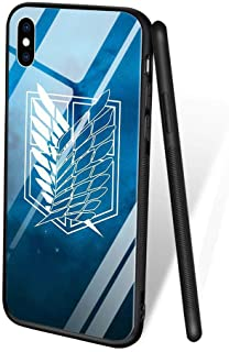 for iPhone 7 Plus/8 Plus, Tempered Glass Back Cover Soft Silicone Bumper Phone Case ZL-96 Attack on Titan Anime