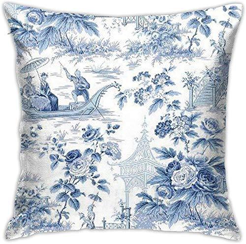 BONRI Fundas de Almohada con Fondo Azul y Blanco, Funda de Almohada, Funda de cojín para decoración de sofá, (18'x18 / 45x45cm