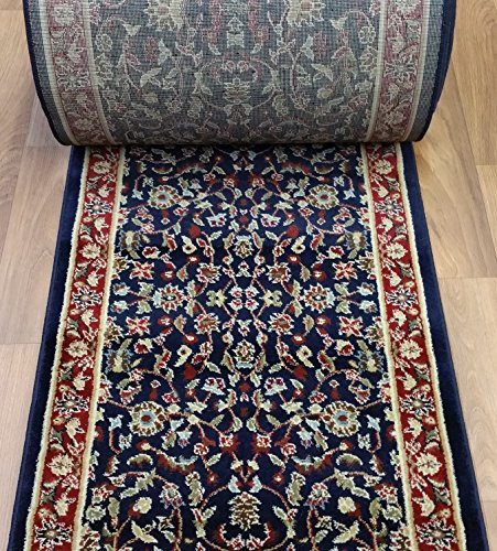 """Rug Depot 163129 Traditional Sold by The Foot Stair Runners and Hall Runners - 26"""" Wide Rug Runner - Navy Blue Background - Kashan Design - 100% Polypropylene"""