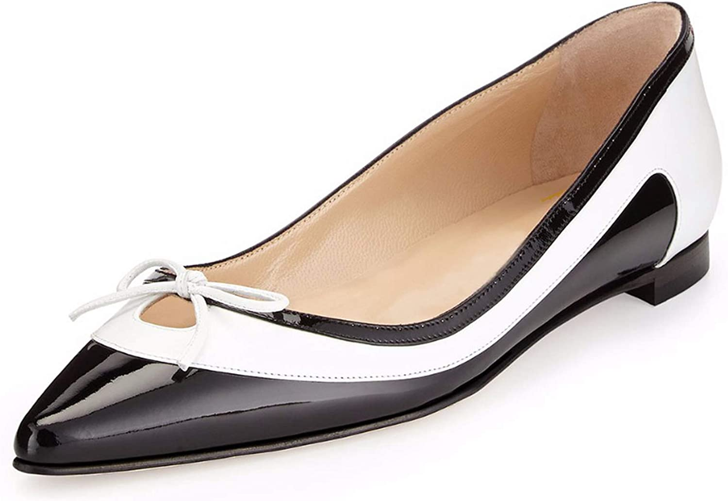 Disinfom Concise Women Flats Pointed Toe 4 Seasons Flat shoes Elegant Black and White shoes Woman Plus Size 4-15