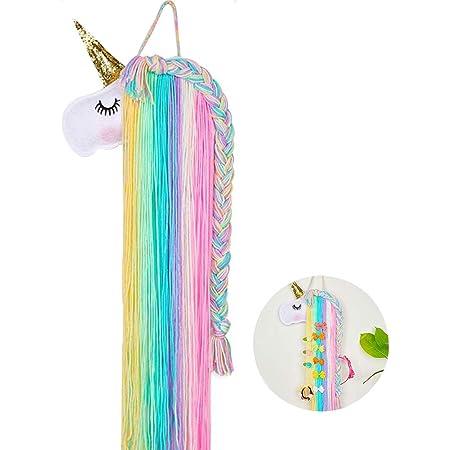 WENTS Unicorn Hair Bow Holder Pinzas para el Cabello Organizador de Diadema Unicornio Colgante de Pared Decoración para el hogar para niñas Habitación Accesorios