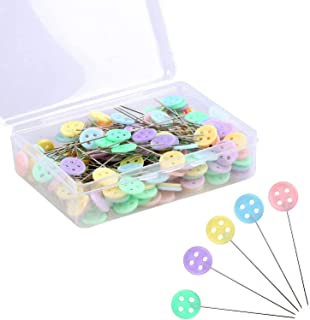 Flat Head Pins, DELFINO Flat Head Pins, Straight Pins, Sewing Pins for Fabric, Button Colored Heads Quilting Pins for Mark...