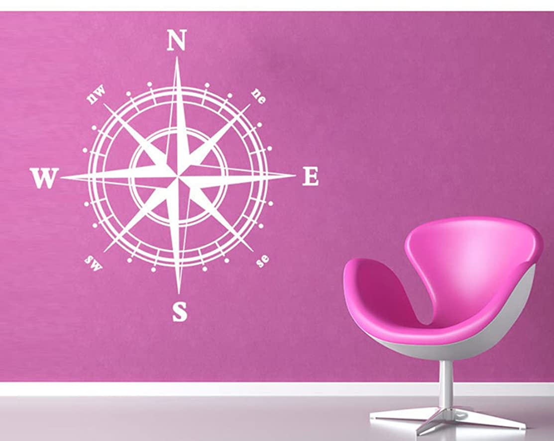 Boodecal Ocean Series Navigation Compass Wall Decals Stickers Decors for Living Room (white) 23*23 Inches