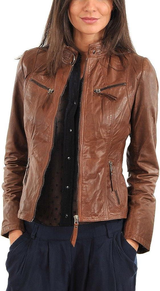 Captain Cory Womens Browny Coded Lambskin Genuine Leather Jacket, Biker Jacket