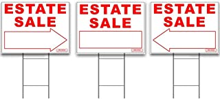 Large ESTATE SALE Signs Kit with Tall Stands - Yard Sign Bundle for Real Estate - 3 Pack - (1) 24