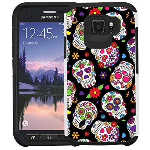 Galaxy S6 Active G890 Case, [for Active Style Only! Not Fit Galaxy S6/S6 Edge], Dual Layer Shock Proof Bumper Protective Phone Cover - Sugar Skull
