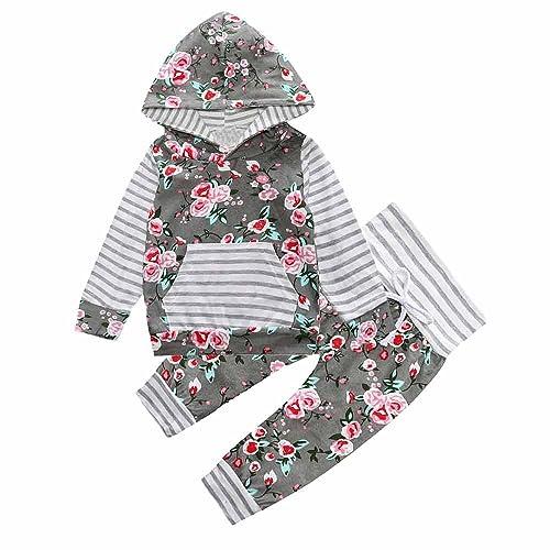 sports shoes e26db b7e88 Baby Girl Purple Floral Long Sleeve Hoodie Pocket Tops Sweatsuit Pants Sets
