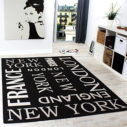 Paco Home In- & Outdoor Teppich Modern City Sisal Optik Flachgewebe Designer Anthrazit, Grösse:120x170 cm