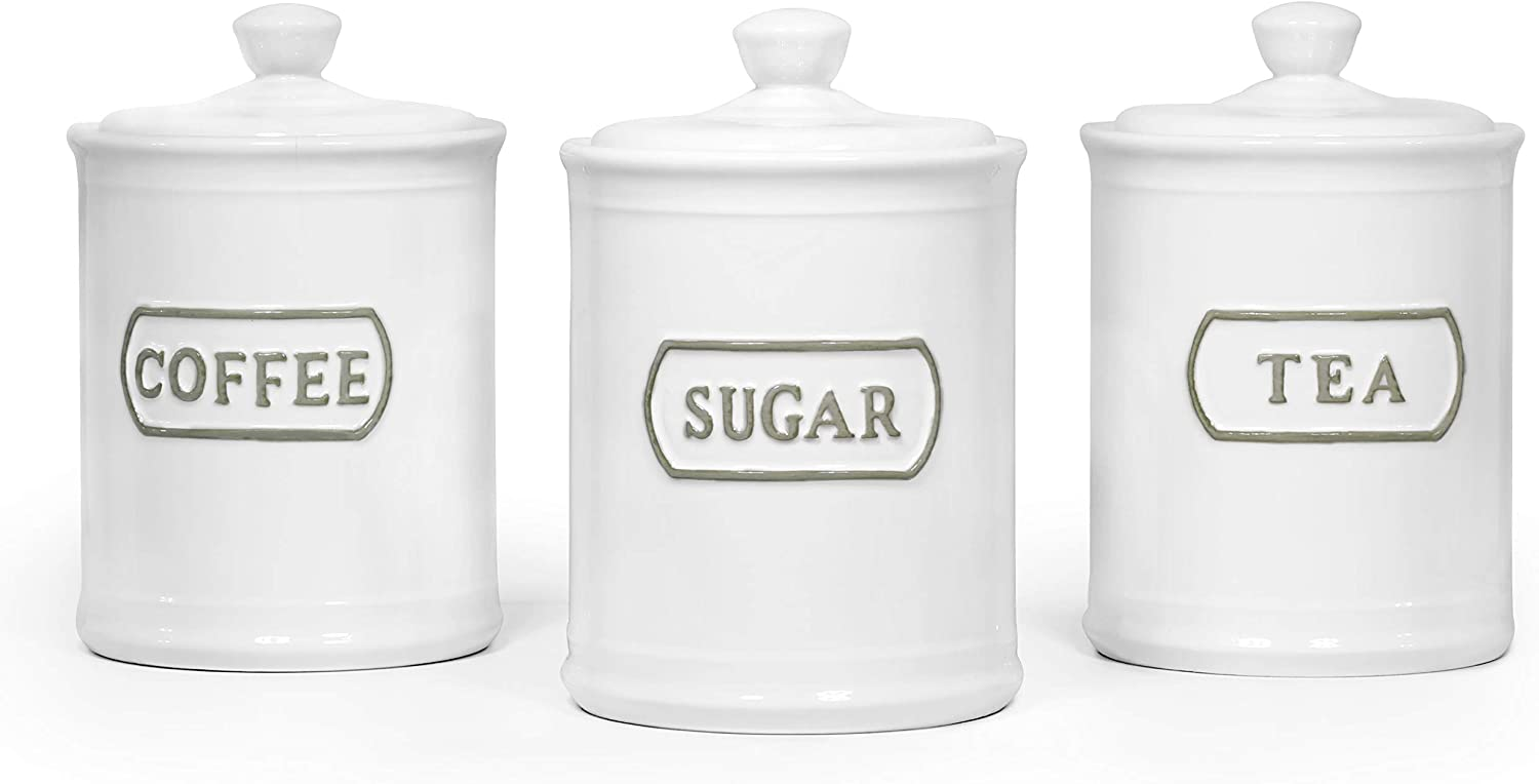 Amazon Com Canisters Sets For The Kitchen Airtight White Kitchen Canisters Set Of 3 For Coffee Tea Sugar Ceramic Canisters With Lids Tawches Home Improvement