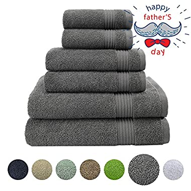 Hotel & Spa Quality, Absorbent and Soft Decorative Kitchen and Bathroom Sets, 100% Genuine Cotton, 6 Piece Turkish Towel Set, Includes 2 Bath Towels, 2 Hand Towels, 2 Washcloths, Charcoal Grey