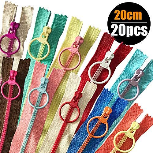 HuLuBB 20 Kunststoff Harz Reißverschlüsse, 20 Nylon Coil mit Metall-Ring Lockvogel für Tailor Nähen Crafts Handtasche Garment (20cm)