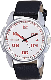 Fastrack Bare Basic Men's White Dial Leather Band Watch - T3124SL01