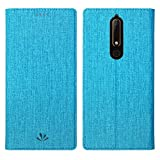 Simicoo Nokia 6.1 2018 Model Flip PU Leather Slim Fit case Card Holster Stand Magnetic Cover Clear Silicone TPU Full Body Shockproof Pocket Thin Wallet Case for Nokia 6.1 2018 (Blue)