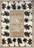 Palm Tree Modern Area Rug Tropical Beige & Green Design 729 (5 Feet X 7 Feet)