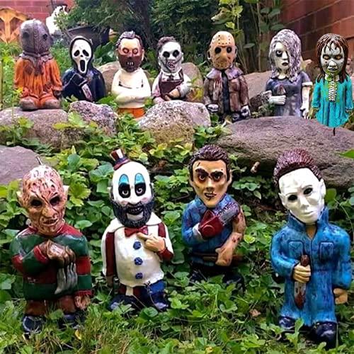 Horror Movie Garden Gnomes - Nightmare Horror Gnome, Killer Garden Gnome Spooky Undead Halloween Sculpture Combat Gnome Decoration, Dwarf Zombie Statue for Outdoor Yard or Lawn Decor (11-Pack)