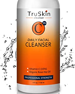 TruSkin Vitamin C Facial Cleanser, Neck & Décolleté Face Wash for All Skin Types, Anti-Aging Daily Skin Care, 4 fl oz