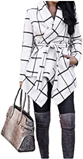 EnergyWD Womens Plaid Contrast with Belt Irregular Mid-Length Fashion Coat Jacket