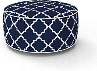 FBTS Prime Outdoor Inflatable Ottoman Navy Round 21x9 Inch Patio Foot Stools and Ottomans Portable Travel Footstool Used f...