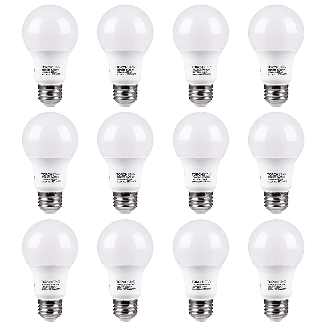 TORCHSTAR UL-Listed A19 LED Light Bulb, 9W (60W Incandescent Equivalent), E26/E27 Base 820lm 5000K Daylight, Pack of 12