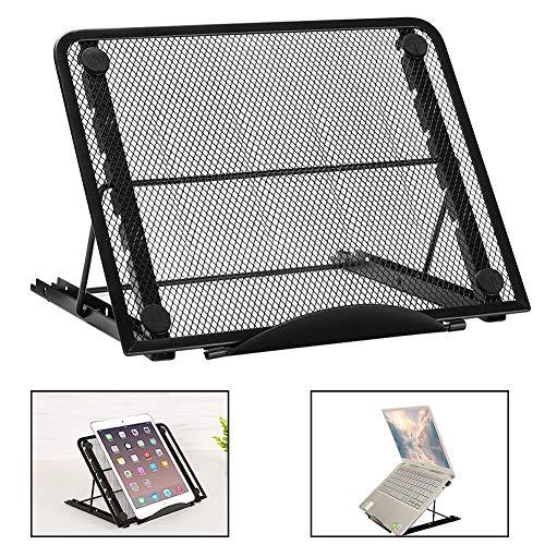 PNNP Laptop Ständer, Klappbar Multi-Winkel Einstellbar Höhenverstellbar, Belüftet Faltbar Rostfreier Stahl Tablet Halterung, Für 7-15 Zoll Notebook Tablet Halter, Schwarz (24cm X 19cm)