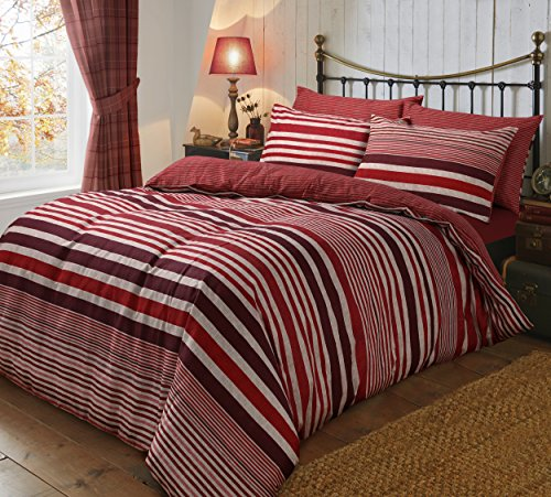 Sleepdown Flannel Stripe Red Reversible Soft Duvet Cover Quilt Bedding Set With Pillowcases - Double (200cm x 200cm)