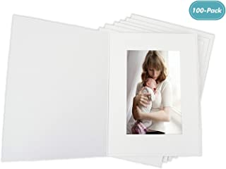 Golden State Art, Cardboard Photo Folder for a 4x6 Photo (Pack of 100) PF075 White Color (White)
