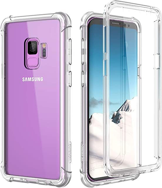 SURITCH Funda Samsung Galaxy S9 360 Grados Transparente y Protector Antigolpes [Ultra Hybrid] Transparent PC Dura Resistente + TPU Silicona Bumper Doble Cara Carcasa para Samsung Galaxy S9 - Claro