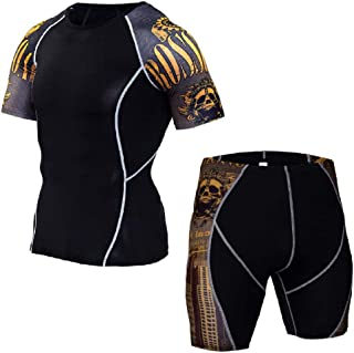 Muay Thai T Shirt Shorts Suit Printed Breathable Elastic Compression Short Boxing Jersey Fitness Gym Training