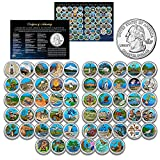 America The Beautiful Parks U.S. Quarters Colorized 56-Coin Complete Set 2010 Thru 2021 with Certificate and Capsules