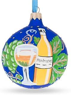 BestPysanky White Wine Bottle Glass Ball Christmas Ornament 3.25 Inches