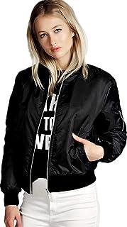 Black Polyester Bomber Jacket For Women