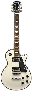 Glen Burton GE320-WHB Classic LP Style Electric Guitar, White with Black Pick Guard