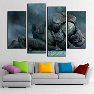 LIVEXDD Bedroom 4 Piece Canvas Prints Art Work Panels Modern Set Pictures Landscape HD Wall Decoration Painting Large Poster/Kneeling Soldiers/Wooden Frame