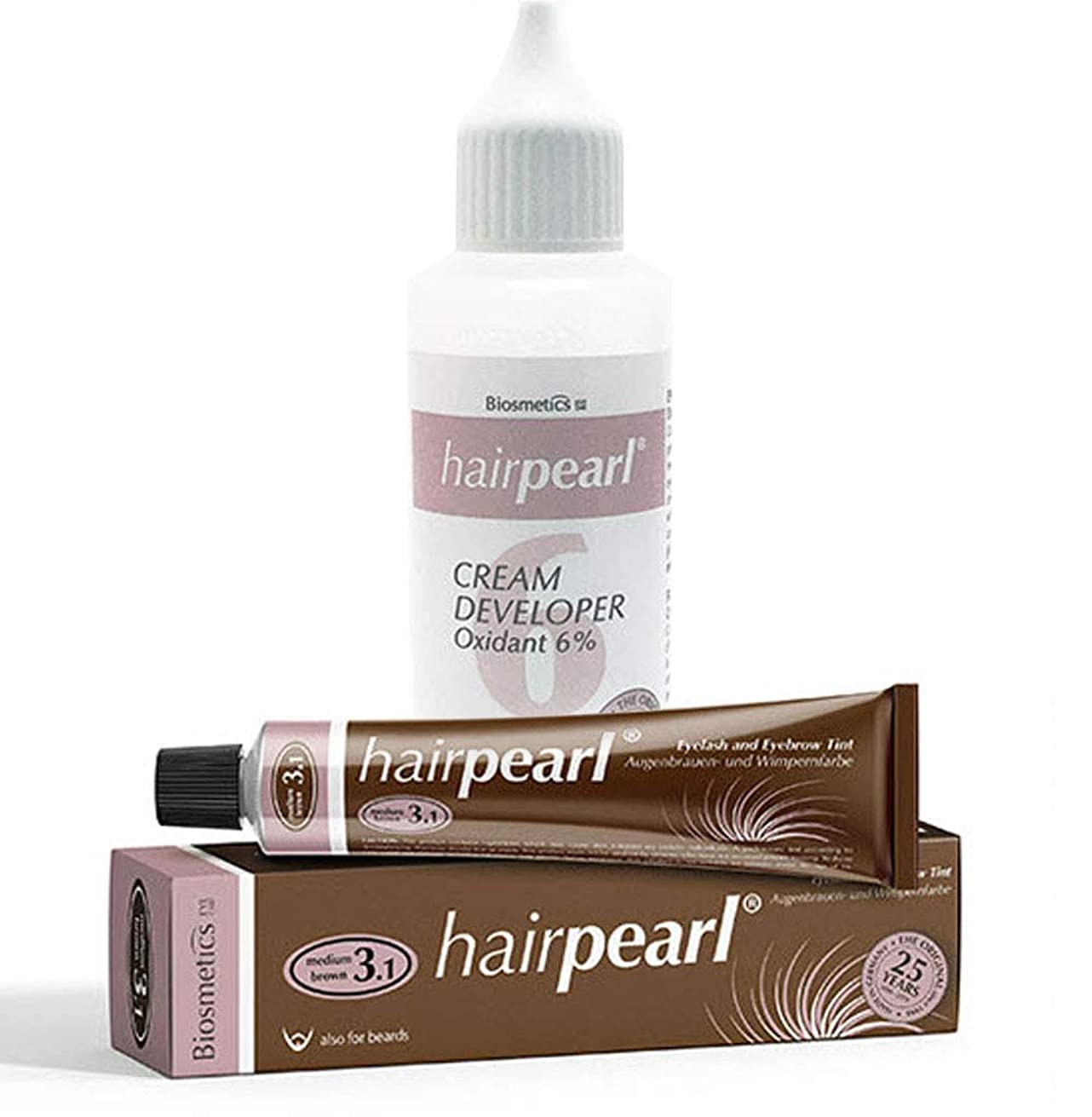 Intensive Hair Tint and Developer Kit (Middle Brown 20 mL with Developer Cream 2.7 oz)