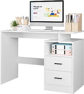 Bureau Table d'étude Bureau d'ordinateur Table pour Chambre avec 2 Tiroirs et 1 Compartiment Ouvert Moderne 108x48x76.5cm