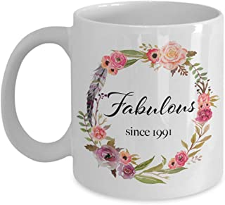 Fabulous Since 1991 - Happy 28th Birthday Gifts for Women - Unique Ideas for Daughter Niece Sister Girlfriend Wife Fiancee Mom Mother in Laws Aunt Coworker Boss - 28 Year Old Coffee Mug - 11oz