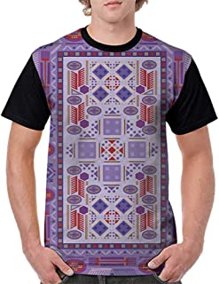 Printed Short Sleeves,Afghan,Timeless Tribal Pattern with Middle Eastern Folklore Traditional Afghan Shapes Dots,Multicolor S-XXL Baseball T-Shirt Tee Tops